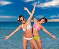 Two woman is having fun Stock Photos