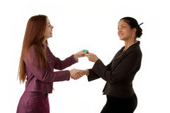 Two woman with key Stock Photos