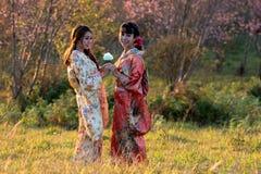 Two Woman in kimono traditional japanese dress Royalty Free Stock Photos