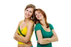 Two woman leaning on each other Royalty Free Stock Photo