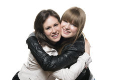 Two woman leather jacket Royalty Free Stock Image