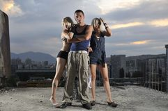 Two woman one man group team people. Two woman and one man together in small gorup team Stock Photography