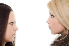 Two woman portrait fur black blond Stock Images