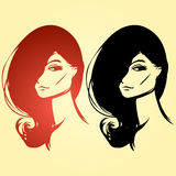 Two woman portraits Royalty Free Stock Image