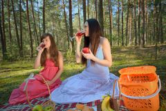 Two woman relax on picnic Stock Photos