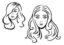Two woman's faces. (Vector illustration Royalty Free Stock Photography