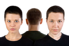 Two woman's faces and man's nape. With short hairstyles line up Royalty Free Stock Image