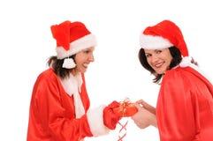 Two woman santa Stock Photos