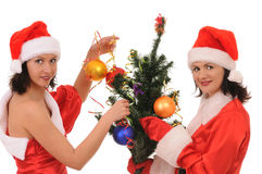 Two woman santa Royalty Free Stock Image