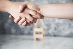 Two woman shaking hands royalty free stock images