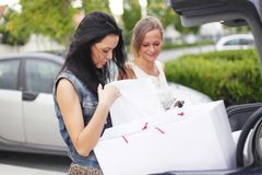 Two woman after shopping Royalty Free Stock Photos