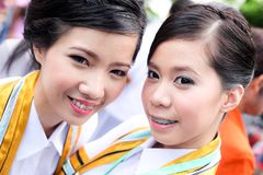 Two woman smile in congratulations day . Stock Image