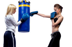 Two woman in sports is a boxing Stock Photography