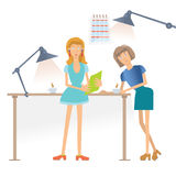 Two woman talking and drinking coffee in the workplace in the office. Vector illustration, isolated on white. Two woman talking and drinking coffee in the stock illustration