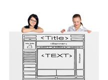 Two woman and template website Stock Image