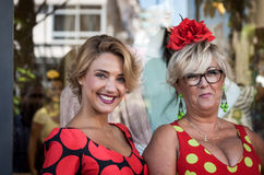 Two Woman with typical costumes of Andalucia in Spain Fuengirola Stock Photos