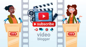 Two Woman Video Blogger Online Stream Blogging Subscribe Concept Stock Photography