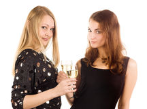 Two woman with wine glasses Royalty Free Stock Images