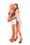 Two womans hug isolated stock images