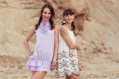 Two womans in summer dress Stock Photo
