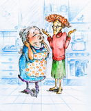 Two women. Two old women talking in kitchen.Picture I have created with watercolors Royalty Free Stock Photography