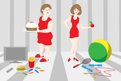 Two women. These women have different hobbies. Who has more useful hobby? Raster version. There is in addition a vector format (EPS 8 Royalty Free Stock Photo