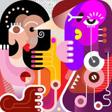 Two Women. Abstract modern fine art picture. Vector illustration. Couple looking at each other Stock Image