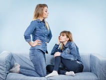 Two women after argue, female being offended Royalty Free Stock Image