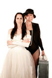 Two women as bride and groom Royalty Free Stock Images