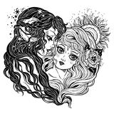 Two women as day and night union metaphor symbol. royalty free illustration