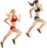 Two women athletes runners. Color silhouettes Stock Photography