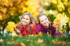 Two Women at autumn outdoors Stock Images