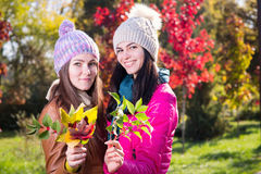 Two women in autumn park Stock Images