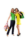 Two women with bags Royalty Free Stock Photography