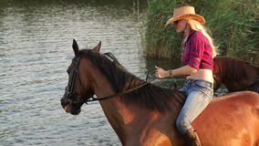 Two women bathe with the horses in the lake. Two beautiful young woman with their horses swimming in the lake at sunset stock video