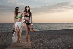 Two women on the beach Royalty Free Stock Images