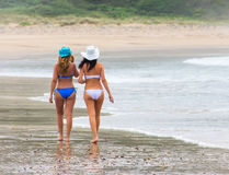 Two women on the beach Stock Photography