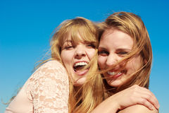 Two women best friends having fun outdoor Royalty Free Stock Images
