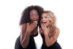 Two women in black dresses Royalty Free Stock Photography