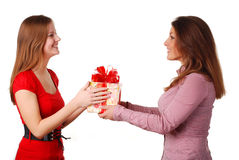 Two women with box Royalty Free Stock Photography