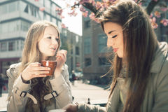 Two women in a cafe Royalty Free Stock Photos