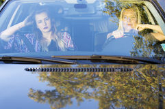 Two women in a car Stock Images