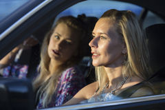Two women in a car Stock Image