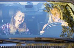Two women in a car Royalty Free Stock Photography