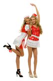 Two women in carnival costume. Nurse shape Royalty Free Stock Photos