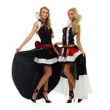 Two women in carnival costumes. Domino shape Stock Photo