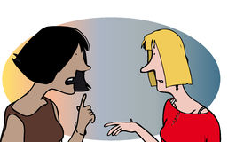 Two women. Two cartoon women talking and listening royalty free illustration