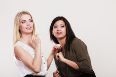 Two women caucasian and african Stock Images