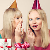 Two women celebrating birthday Stock Photos