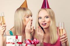 Two women celebrating birthday Royalty Free Stock Photo